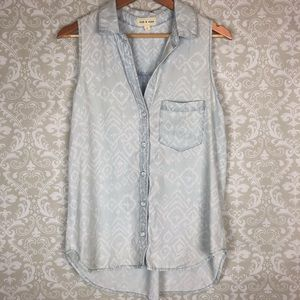 Cloth & Stone Ikat Chambray Button Down Tank